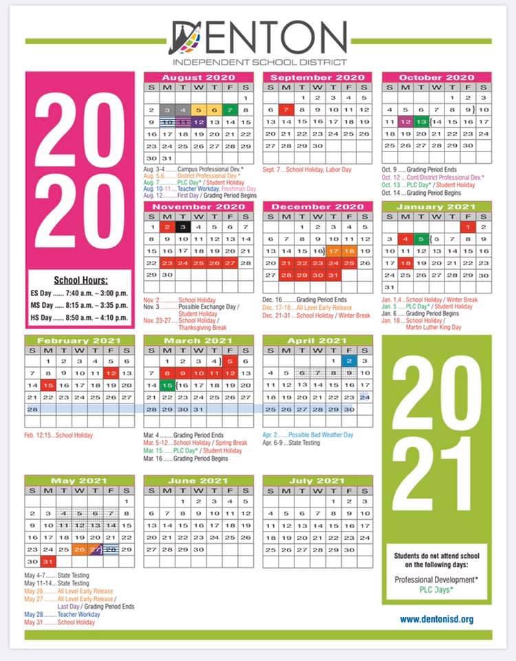 Denton Isd 2021 Calendar Background
