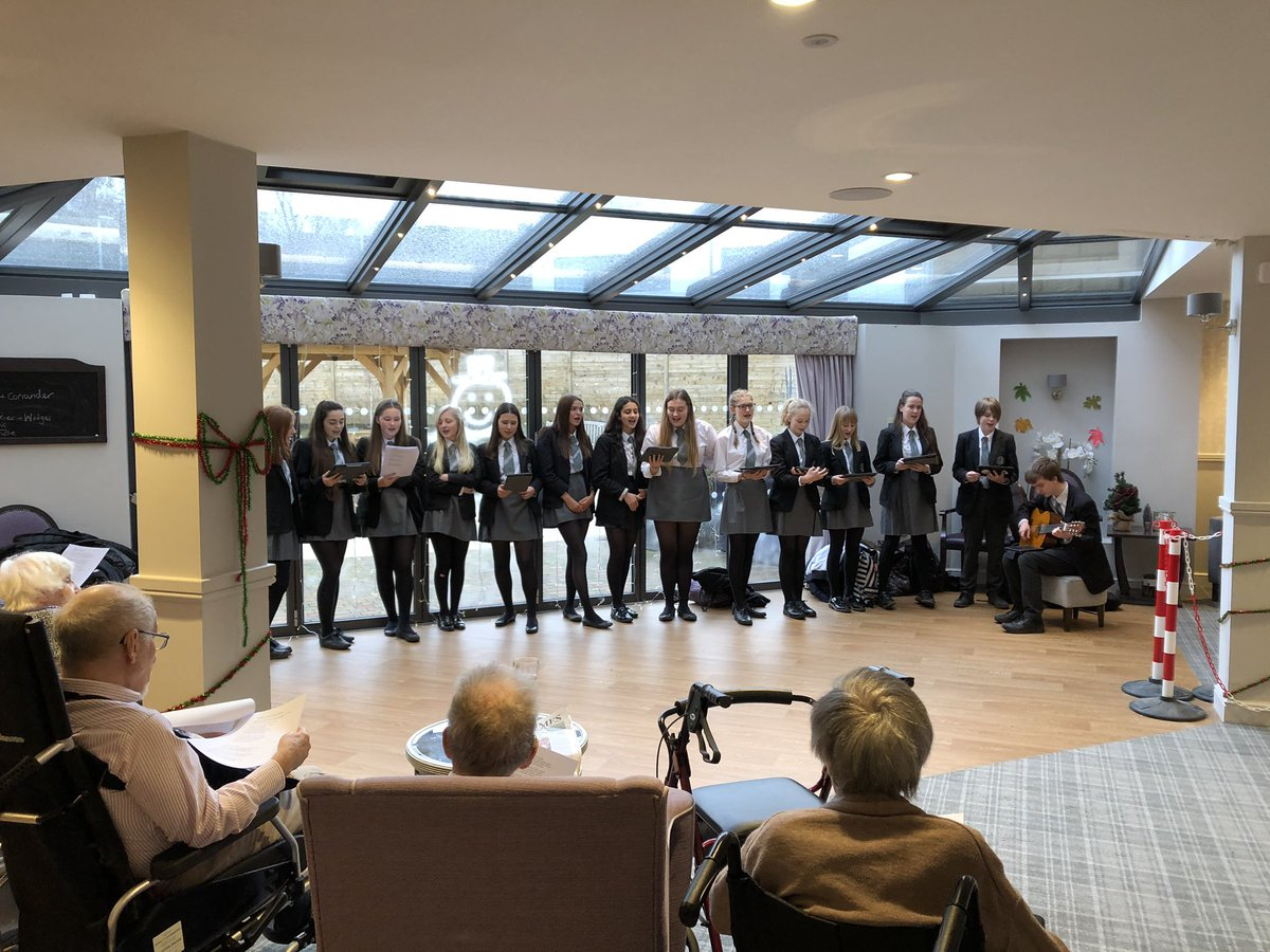@Ilkleygrammar Year 10 GCSE music students had a lovely afternoon singing Christmas carols to residents at Mayfield View, Ilkley @SpringfieldHea2 #community #christmascheer
