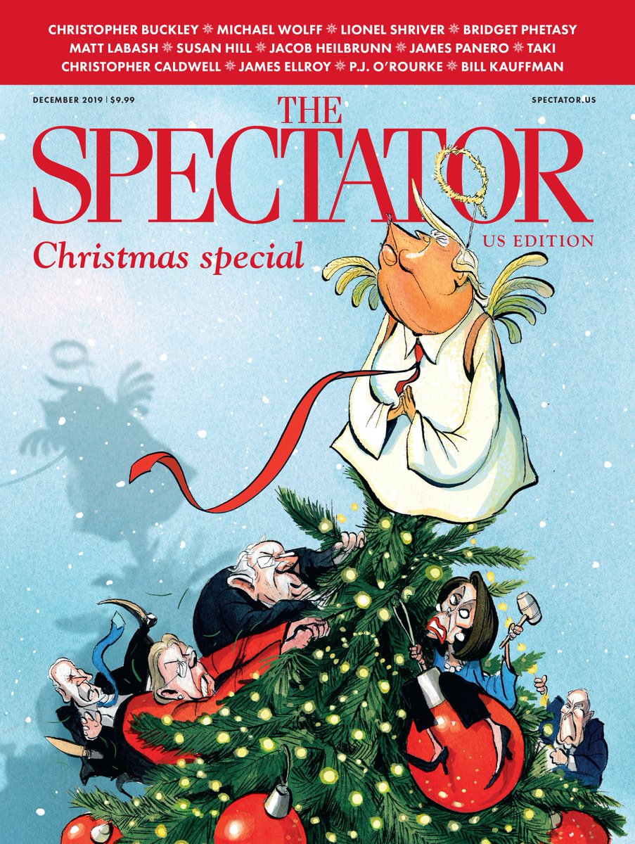 The @SpectatorUSA Christmas special is hitting mailboxes now. Featuring: @BDSixsmith, @BridgetPhetasy, @Chadwick_Moore, @Charlieleduff, @ToryAnarchist, @DrDominicGreen, @JamesPanero, @karol, @MichaelWolffNYC, @rogerkimball, @questingvole, @toadmeister and many more...