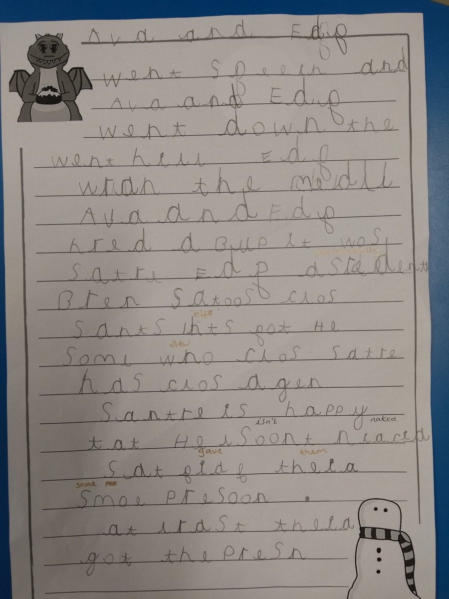 We wrote our own stories inspired by @jlandpartners #ExcitableEdgar Burnt presents, nearly naked Santas... If you are looking for sequel ideas weve got them! #Christmas #writing @TeachersPetUK @LiteracyShed