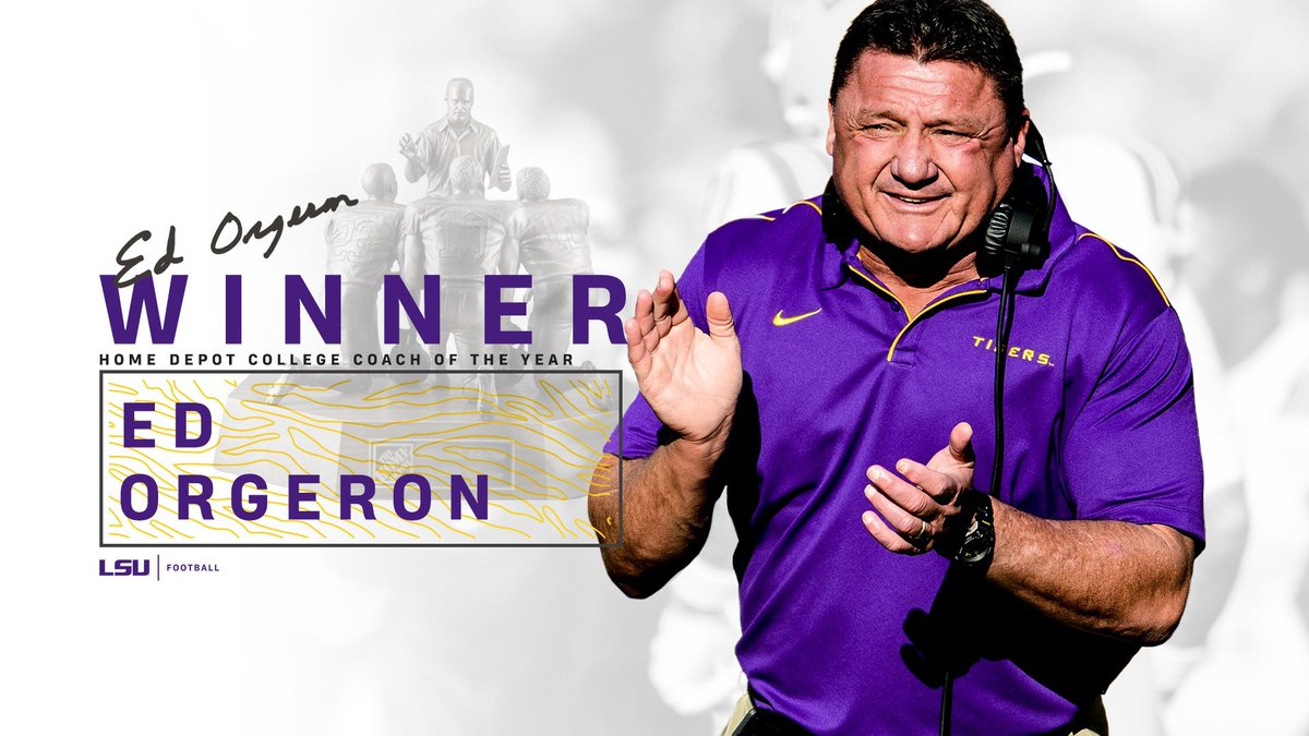 Ed Orgeron is the Home Depot College Coach of the Year!  #GeauxTigers  <br>http://pic.twitter.com/DCGoqBSz1S