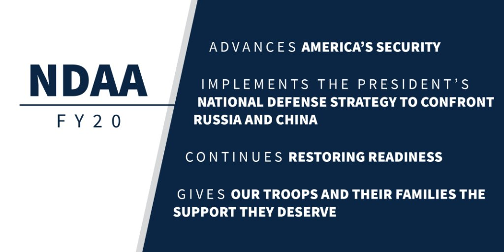 Bigger topline for our military  Biggest pay raise in a decade for troops  Takes care of our military families  Expands support for partners and sanctions adversaries  President @realDonaldTrump is ready to sign the NDAA!<br>http://pic.twitter.com/D3q1tlC1Iy