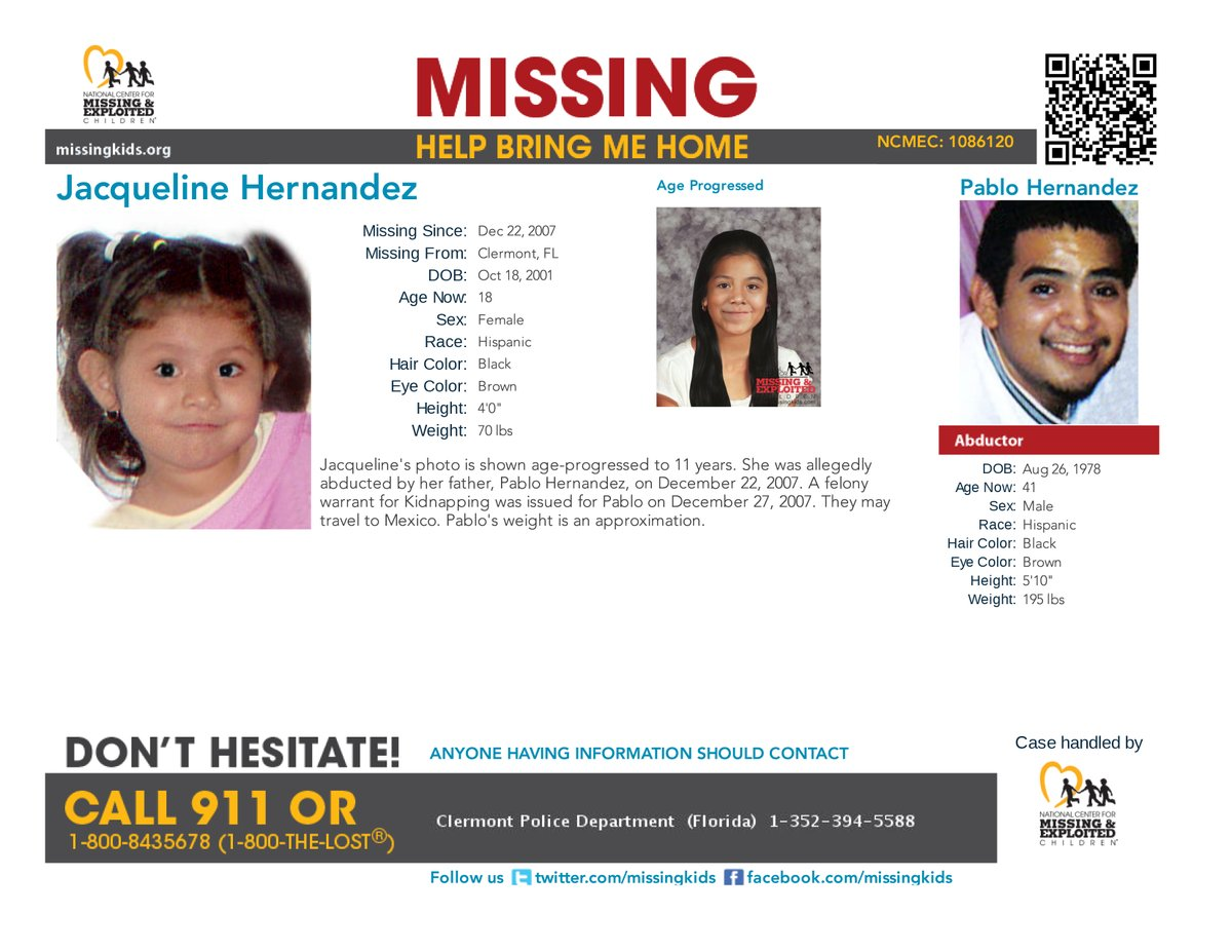 #MISSING! Jacquelines photo is shown age-progressed to 11 years. She was allegedly abducted by her father, Pablo Hernandez, on Dec. 22, 2007. A felony warrant for Kidnapping was issued for Pablo on December 27, 2007. They may travel to #Mexico. missingkids.org/poster/NCMC/10…