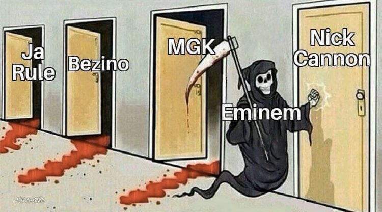 """Whoever made this further proved my point that the """"don't diss Eminem"""" narrative is highly overrated. 50 actually killed Ja Rule. Benzino was trash. MGK is debatable because """"Rap Devil"""" was the better song... like come on, bruh. None of them are top-tier MCs. 😂🤦🏾♂️"""