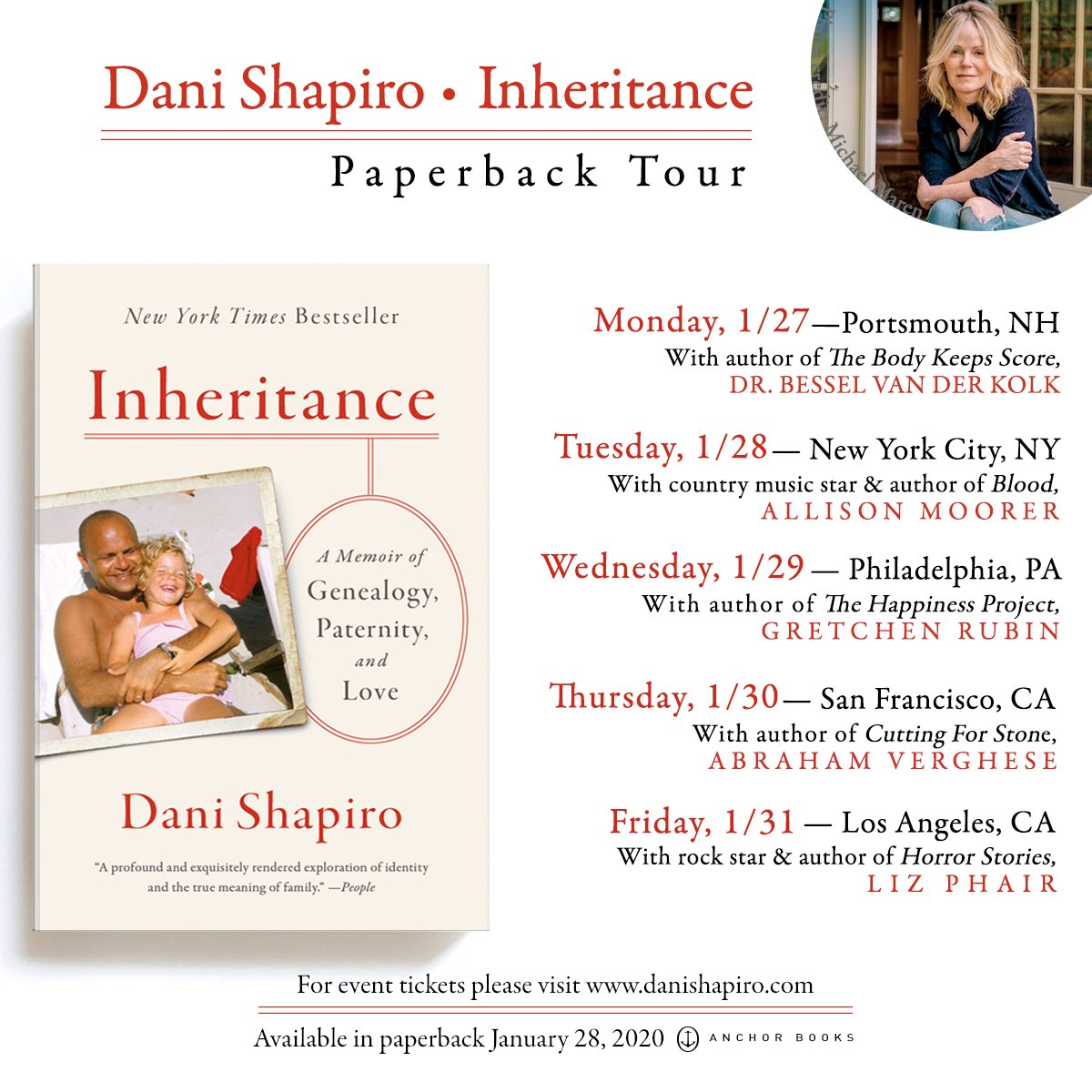 Announcing the amazing lineup for my Inheritance paperback tour!! Five cities, five days, and five amazing conversations with Dr. Bessel van der Kolk, @gretchenrubin, @AllisonMoorer, @cuttingforstone, and @PhizLair!!!