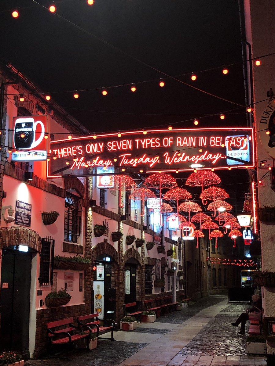 'There's only seven types of rain in Belfast'! New lights outside the Duke of York bar <br>http://pic.twitter.com/CmGU2KpkLv – à The Duke of York