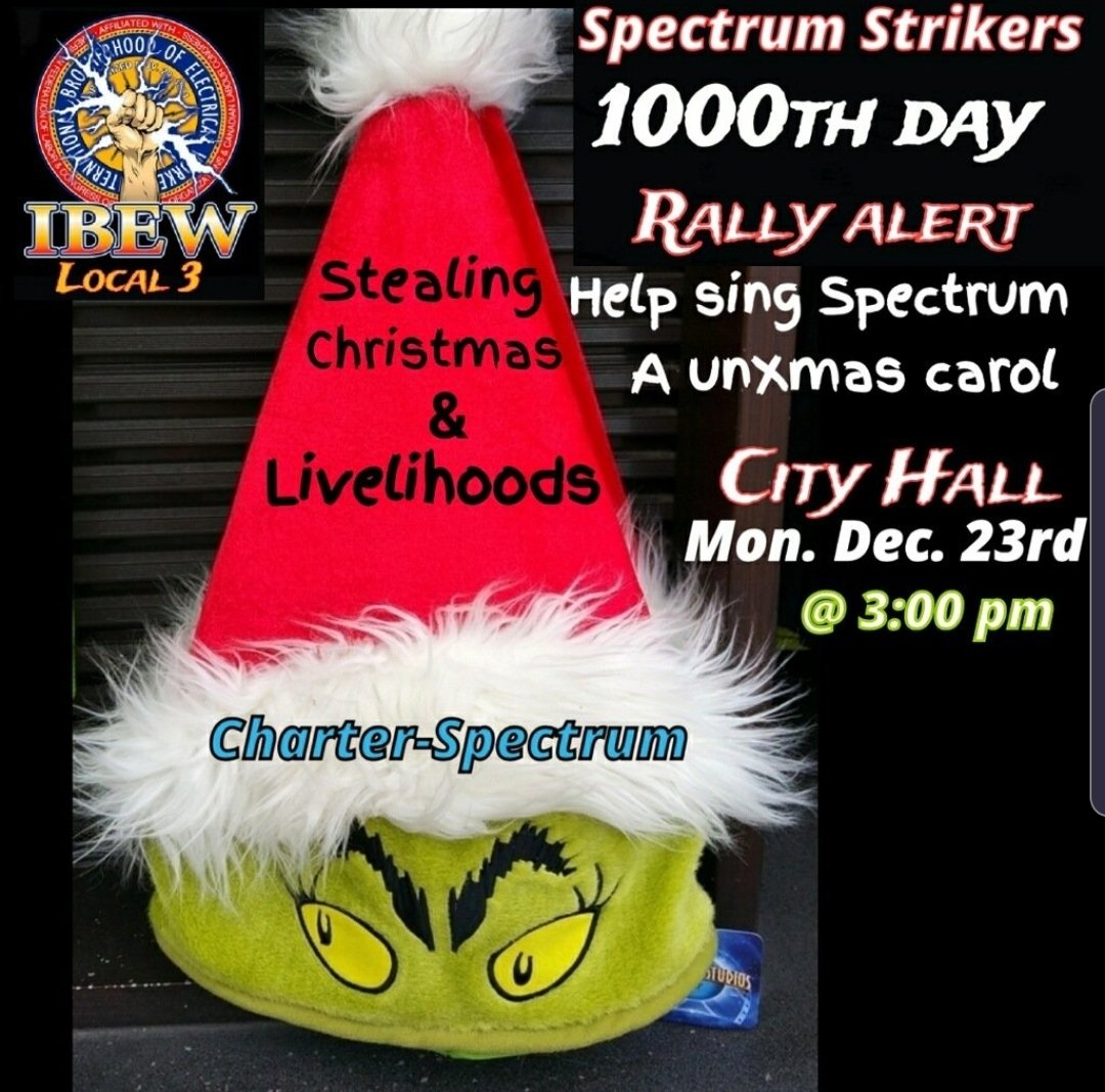 Spectrum spit on NY. For 1000 days & 3 Xmas #Local3 workers on #Spectrumstrike have fought them. On the 23rd we continue to. @BernieSanders @ewarren @CoryBooker @AndrewYang @JoeBiden @PeteButtigieg @allcandidates will you come to support us? @MikeBloomberg show them the way here.<br>http://pic.twitter.com/9n1LBM2lDS