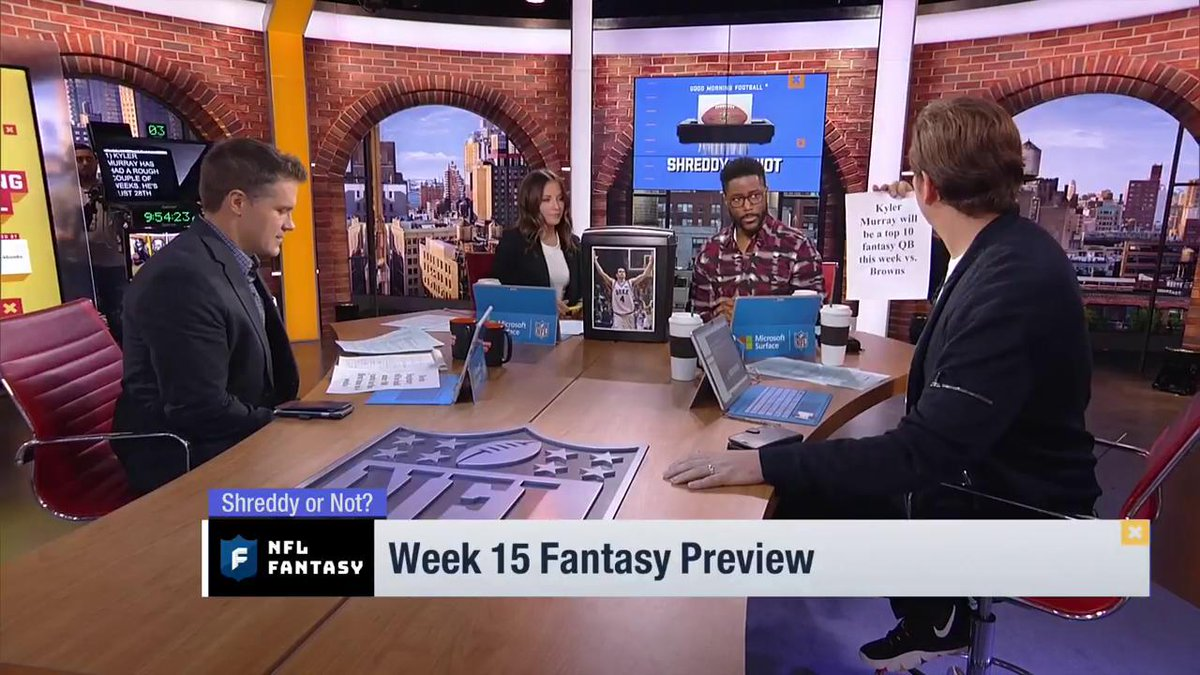 Will Kyler Murray (vs CLE) finish Week 15 as a top 10 QB? @heykayadams turns to the Shredder. @NFLFantasy | #FantasyFootball