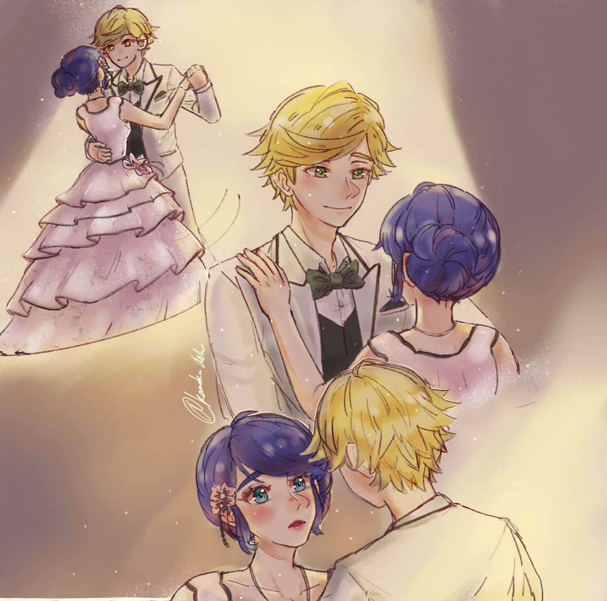 """→ """"Dance with me princess.""""  I need to see this dress in a episode!   [#MiraculousLadybug #AdrienAgreste #Marinettedupaincheng #Adrienette #Adrinette ]pic.twitter.com/0wdXX1n3VV"""
