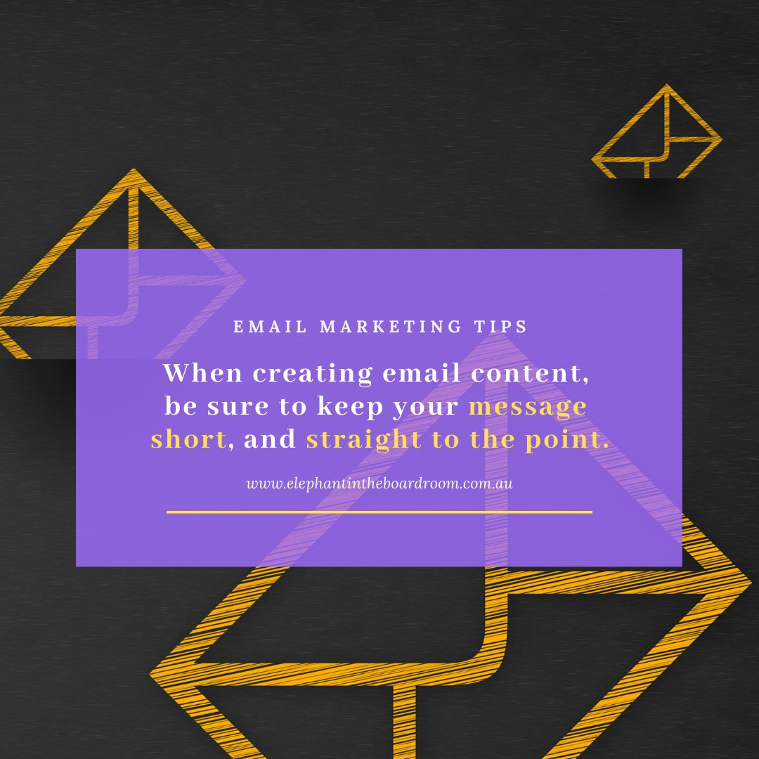 To ensure more success in your email marketing campaign, make sure you're adding value to your customers' lives and taking the time to personalise your message.  If you need help in developing content: team@elephantintheboardroom.com.au  #digitalmarketing #websitedevelopment <br>http://pic.twitter.com/Uqv4mJ5GAE