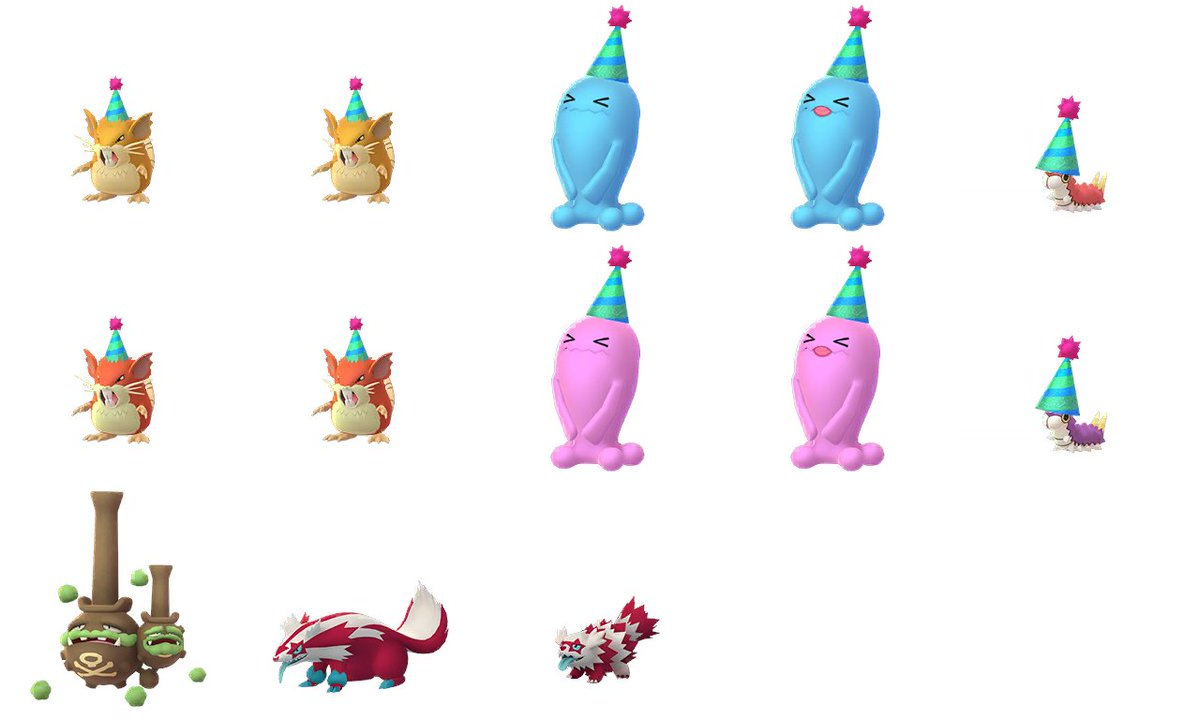 Raticate, Wobbuffet & Wurmple with party hat added ! Also Galarian Weezing + Zigzagoon shiny family added ! #PokémonGO <br>http://pic.twitter.com/j2dDFICoHC