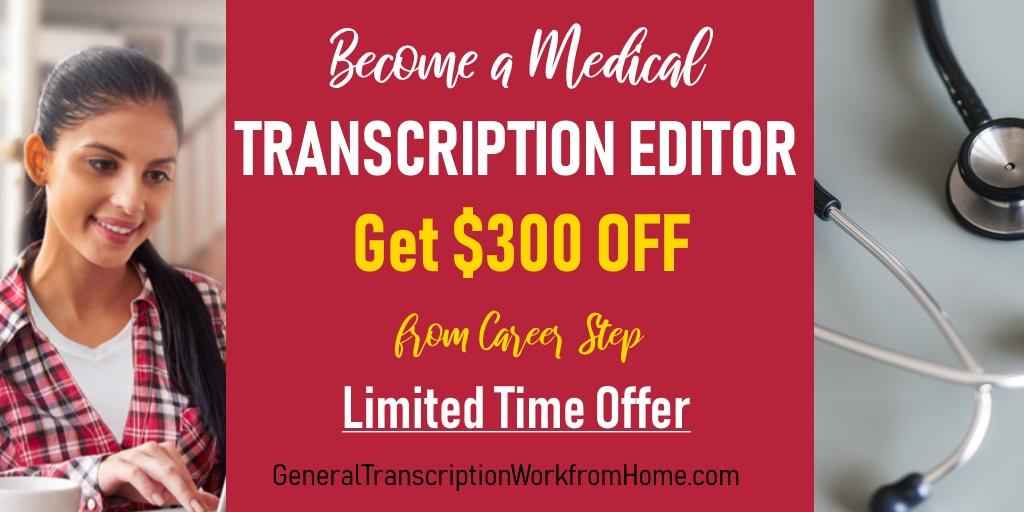 Medical Transcription Editor. $300 off  From Career Step When Enrolling by 12/11   #MT #MedicalTranscription #aff https://bit.ly/2Z1dped