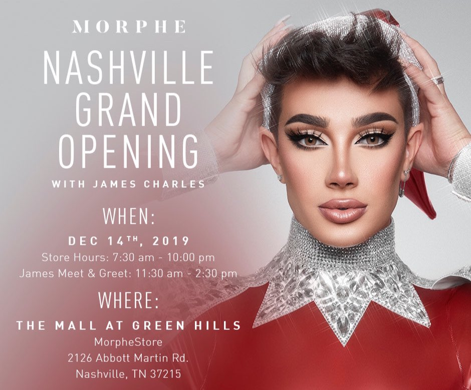 I am SO EXCITED to spend this weekend in Nashville TN to open the new  @MorpheBrushes store!! We're trying something new so I hope this goes smoothly, you guys have fun, and are excited!! 🥺❤️ see you soon!!