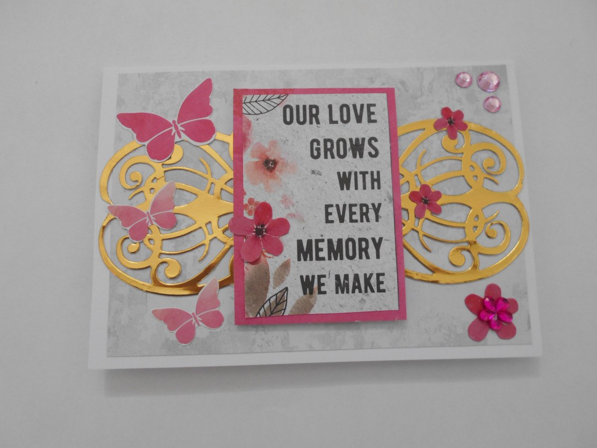 "Excited to share the latest addition to my #etsy shop: Love card suitable for Mrs and Mrs relationship or Mr and Mrs. ""Our love grows with every memory we make"" Pink with butterflies and flowers.  #papergoods #pink #wedding #grey #smallcard #love"