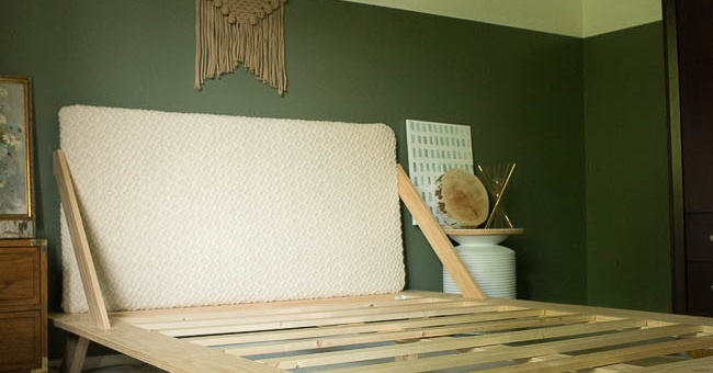 Modern Bed Frame DIY - KnockOffDecor.comGuests coming to stay over the holidays? Whip up this #DIY bed frame for your guest room! #cheapchic #CLE #CLEliving
