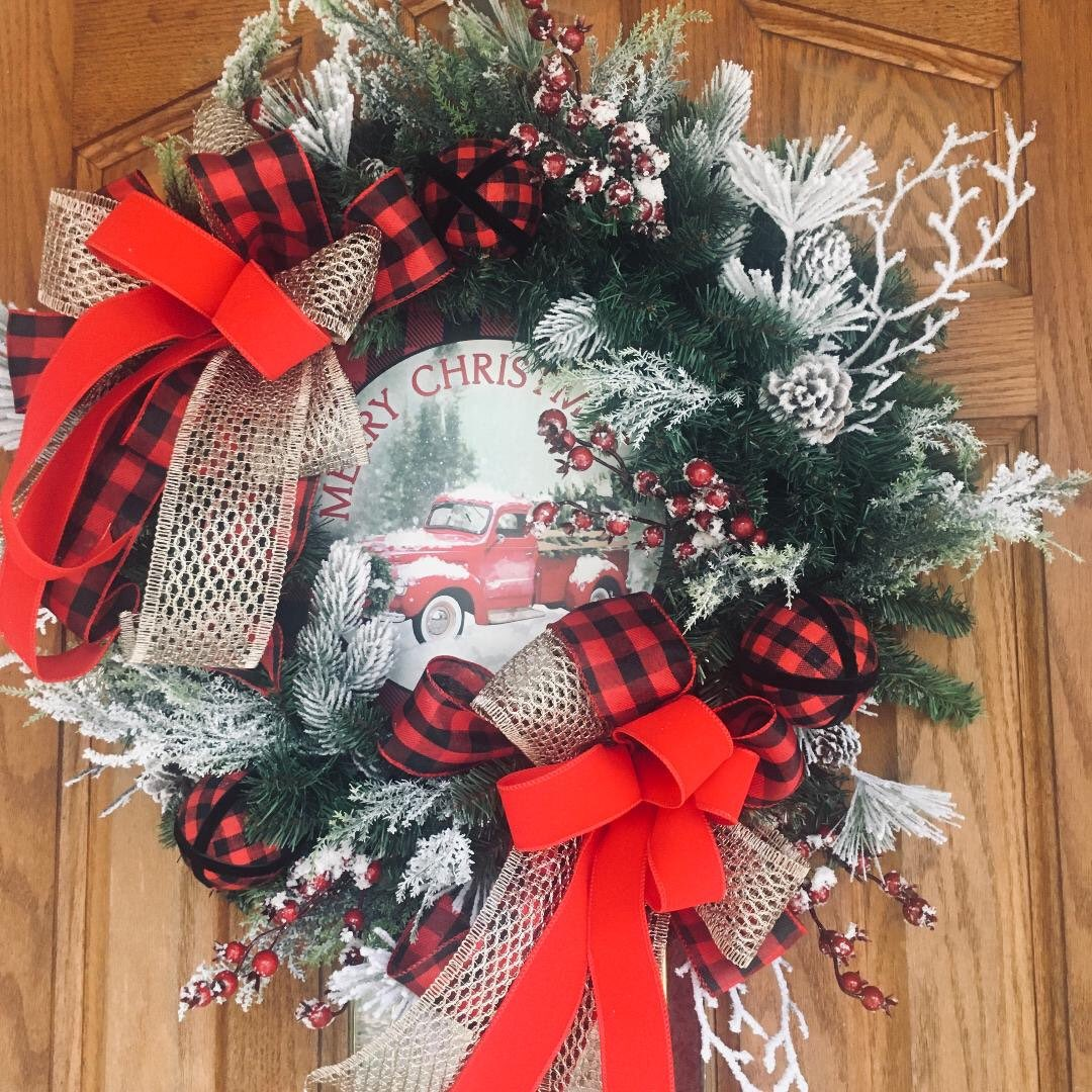 Excited to share this item from my #etsy shop: Christmas Wreath, Vintage Red Truck, Farmhouse Christmas Wreath, Rustic Christmas Wreath, Buffalo Christmas Wreath,