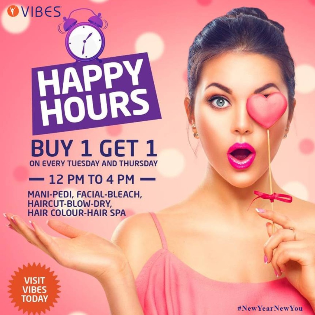 Tuesdays and Thursdays were never so good before.  #VIBES #HappyHours #12pmto4pm #Buy1get1 #Beautiful #Salon #Women #Men #Makeup #Beauty #Wellness