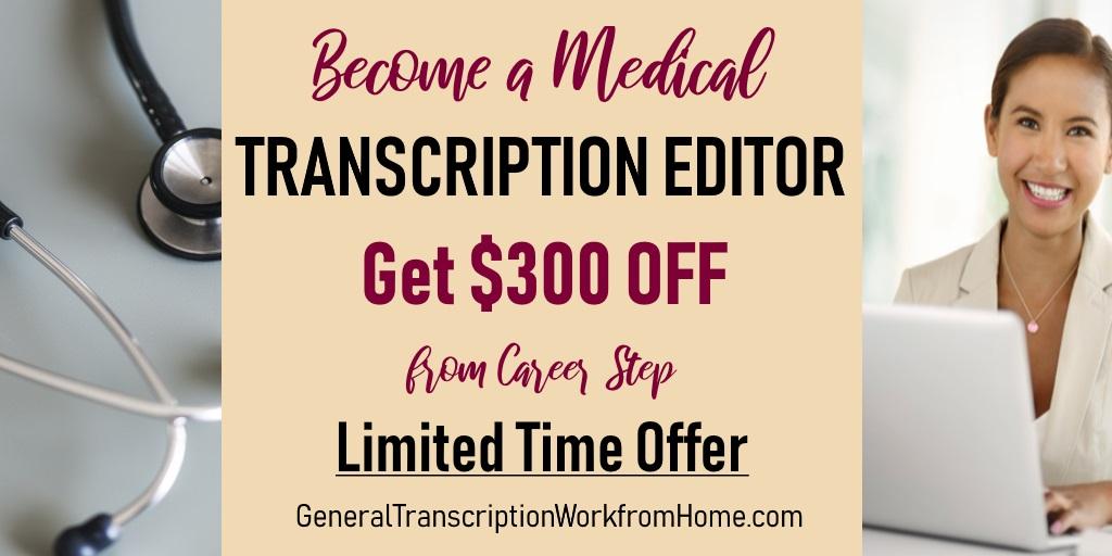 $300 off When Enrolling as a Medical Transcription Editor at Career Step by 12/11 #MedicalTranscription #MT #aff https://bit.ly/2Z1dped