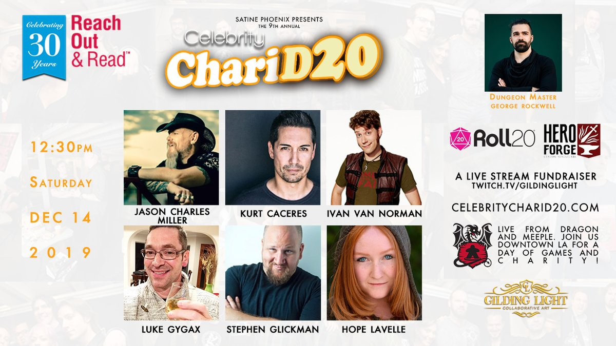 Table 2 line up for Saturday Dec 14 #CCD20_2019 event!  to donate #DnD @reachoutandread! DM #George @jasoncmiller @kurt_caceres @Hydra_Lord @lukegygax @StephenGlickman @reelhopelavelle LIVE @DragonAndMeeple #Sponsors @roll20app @HeroForgeMinis @GildingLight