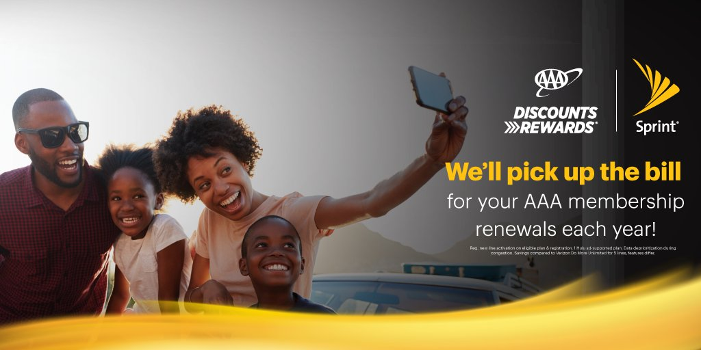 At Sprint, you get more savings, and now with @sprint  Perks, AAA members get more. Sprint will pick up the bill for your AAA membership renewals each year! Switch to Sprint and get great features like Hulu and Tidal with Unlimited Plus. #AAADiscounts