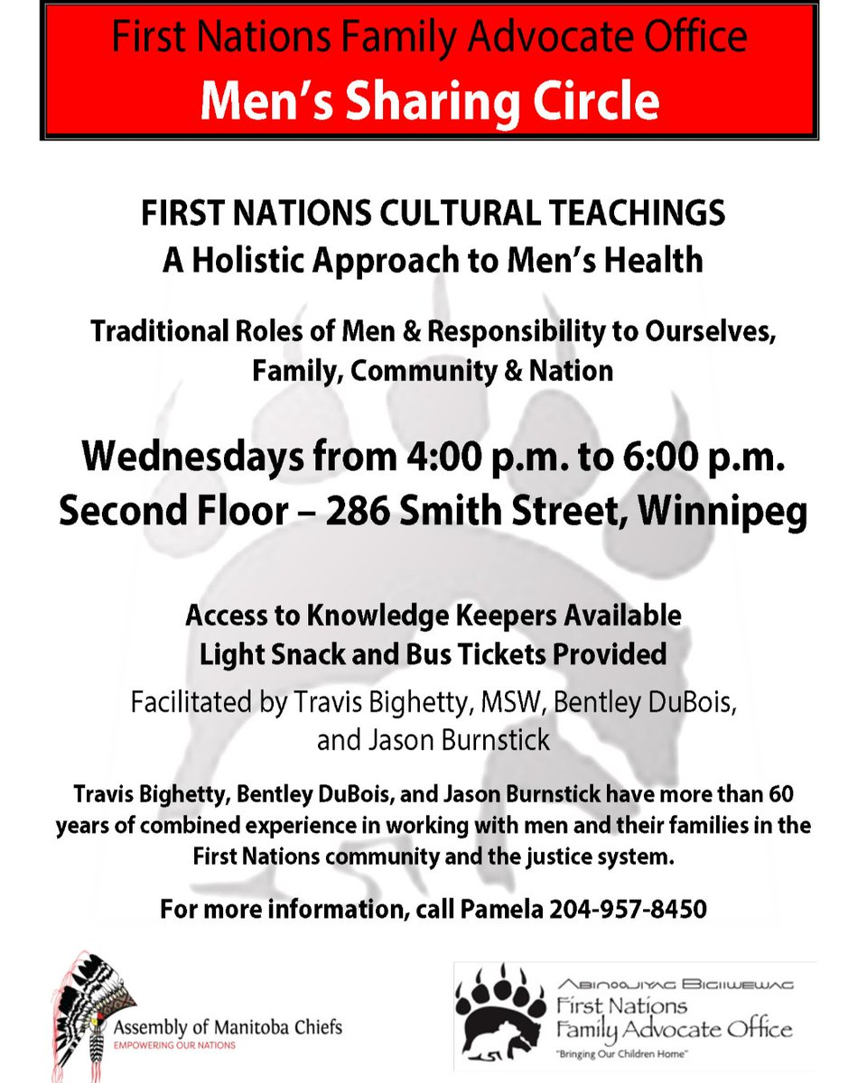 The FNFAO Men's Sharing Circle meets from 4pm to 6pm at our office at 200-286 Smith Street. Child Care is provided. #FNFAO #AMC