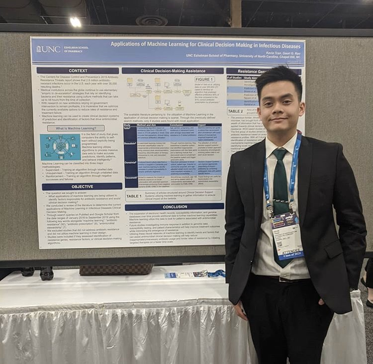 #UNCPharmacy student, Kevin Tran presented at #ASHP19 on utilizing machine learning to predict medication resistance patterns and pave the way for future research in utilizing machine learning to prescribe targeted antibiotics. Way to go, Kevin! 🐏💙 https://t.co/ZL3relfRx8