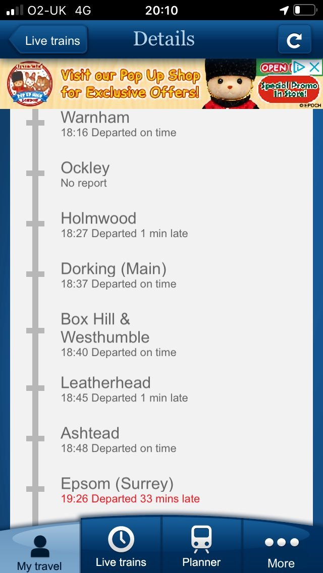 6th December: On time: However, was held at #Epsom because of a broken train.Accumulated delay remains : 1 hour & 52 minutes.1 cancelled: 1 full.