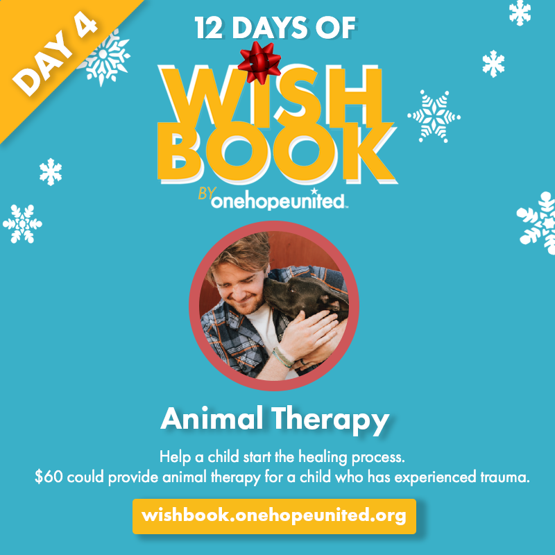 test Twitter Media - Day 4 of #12DaysOfWishbook  $60 could prove #AnimalTherapy for a child who has experienced trauma and allow them to begin the healing process.  Give today at https://t.co/3klS1MSc9f  #OneHopeUnited #Wishbook2019 #GiveBack #HolidayGiving https://t.co/hfzkU4u5Dq