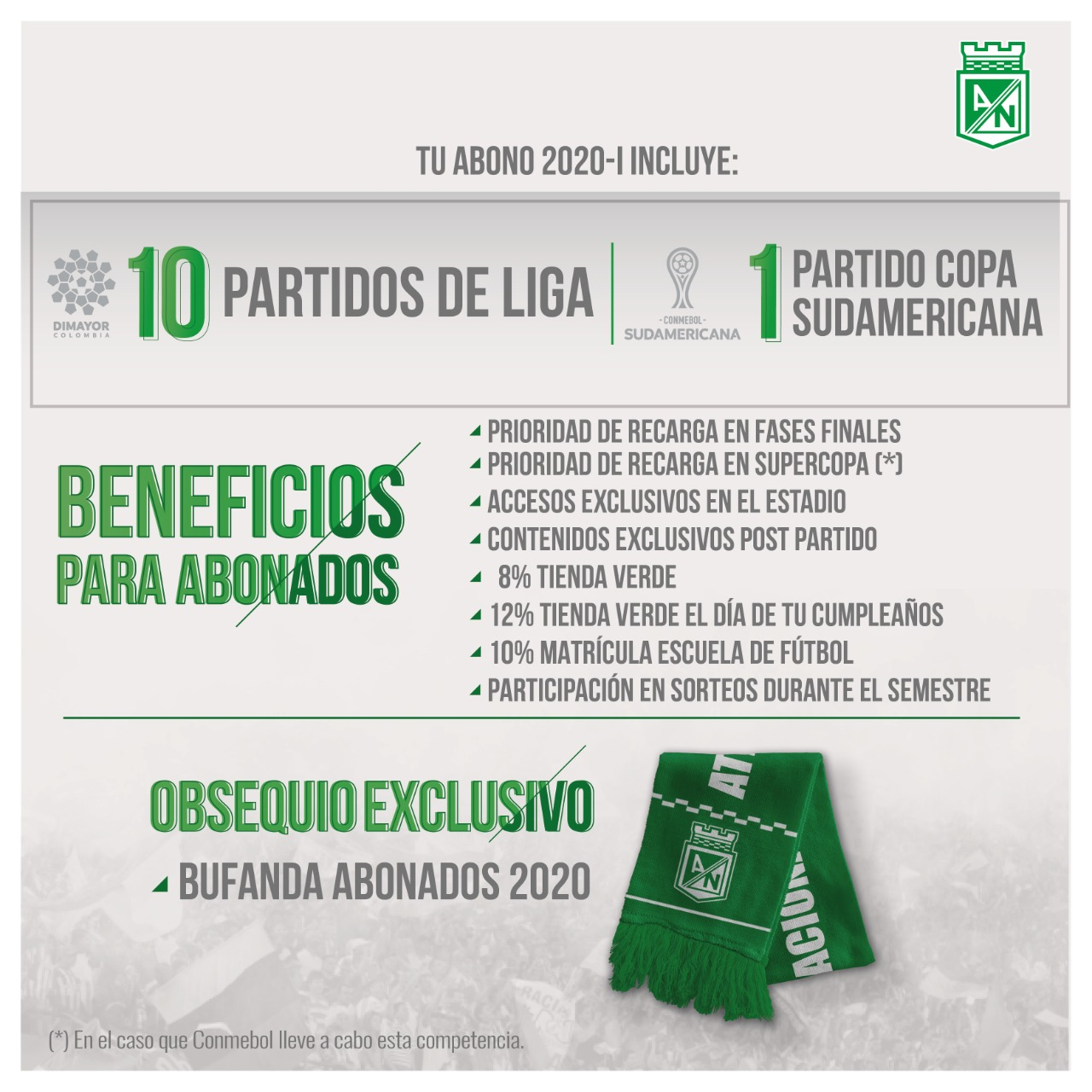 Atlético Nacional presenta su plan de abonados para el 2020