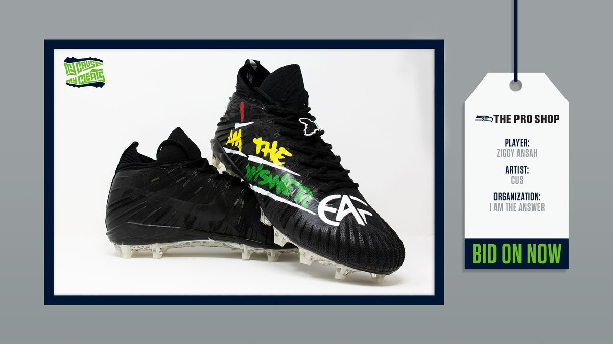 Only 11 days left to grab your pair of #MyCauseMyCleats. Find all your favorite player's cleats,  including @Ziggy_Ansah, @benbk25, @_Slimm7, Mike Iupati, and more. All proceeds will benefit each individual's selected charity.  Visit http://auctions.seahawks.com to bid, ends 12/22.