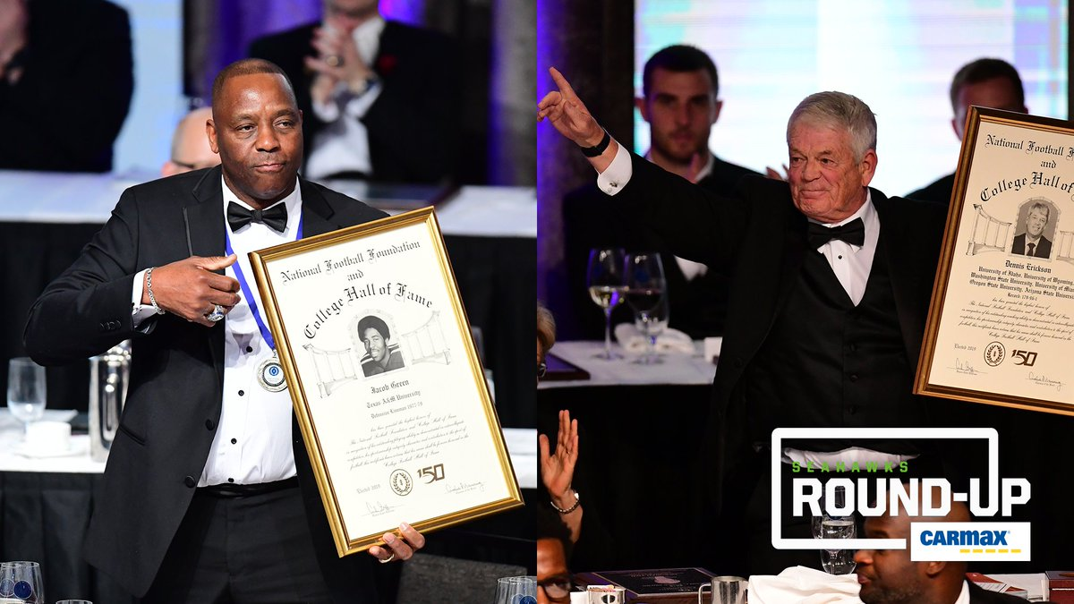 What an honor. 👏  Seahawks Legend Jacob Green and former head coach Dennis Erickson were inducted into the College Football Hall of Fame!   » http://shwks.com/vynts