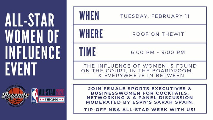 🚨BREAKING NEWS🚨 Tickets are on sale now for @NBAalumni's All-Star Women of Influence Event, with panel moderated by @SarahSpain. Link & details👇 https://allstarwomenofinfluence.eventbrite.com  #Chicago #NBAAllStar #LegendsofBasketball #SeeHerInSports – at ROOF on theWit