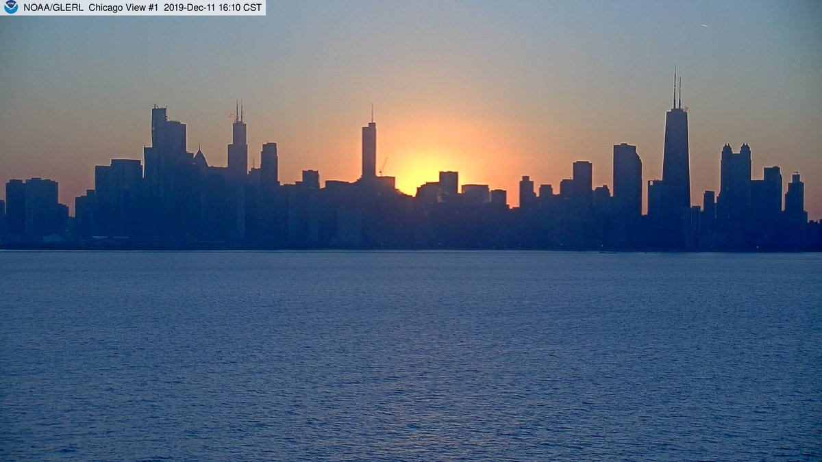 Sunset over #Chicago, as seen from the Harrison-Dever Crib webcam, about 3 miles east of downtown. Real-time data and webcam views here via @NOAA_GLERL : glerl.noaa.gov/metdata/chi/ #ilwx #LakeMichigan