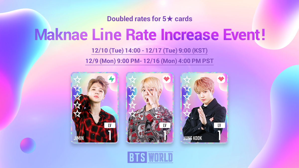 [Notice] Signature!👏 Signature!👏 Signature, signature, signature↗ Manager, new Maknae Line Signature Cards are available! ⭐️ 2x rate for all 5★ cards! ⭐️ Signature card rates ↑! ⭐️ Jimin/V/Jung Kook card rates ↑! ⠀ [Go to Notice] ▶forum.netmarble.com/btsworld/view/…