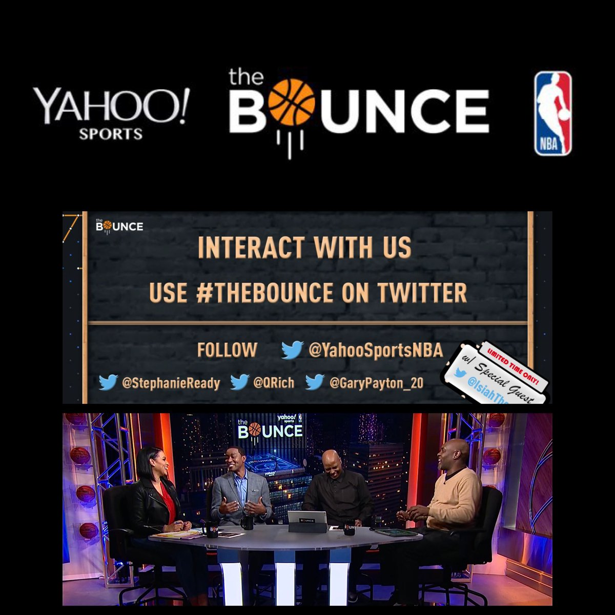 I hope y'all are watching @nba  #TheBounce online @yahoosports app *Mon * Wed *Fri. 7:30 p.m. (EST) Until Final Basketball Game Ends! 👀 with Host @StephanieReady and Analysts @GaryPayton_20 @qrich @IsiahThomas makeup, hair and male grooming by @jamillahsimmons