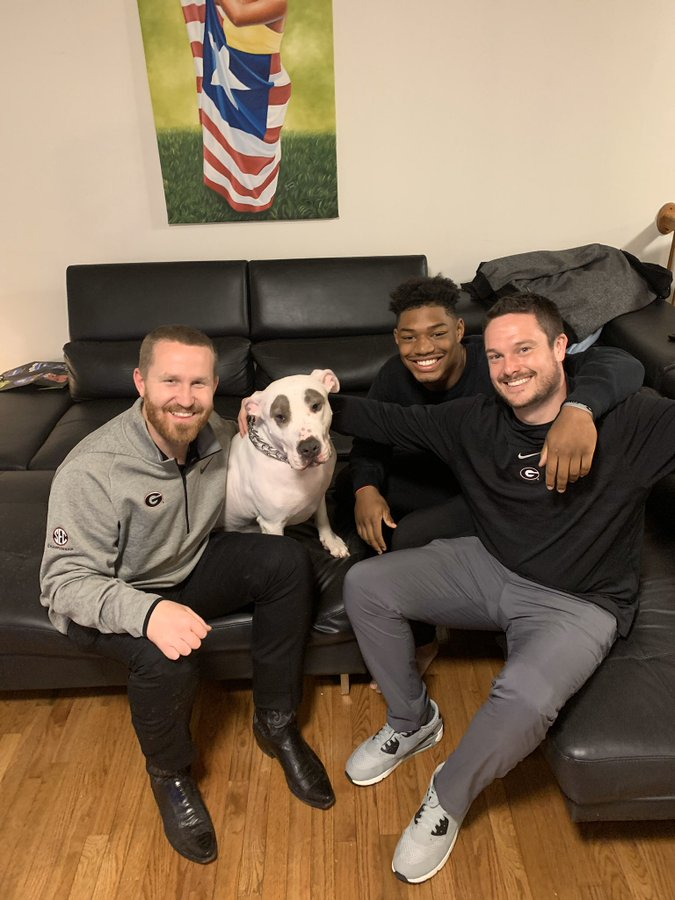 Georgia linebackers coach Glenn Schumann and defensive coordinator Dan Lanning with five-star linebacker and 2020 UGA commit Mekhail Sherman on Wednesday, December 11, 2019