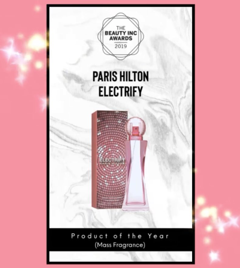 It's such an honor to have ELECTRIFY @ParisHilton 25th fragrance recognized as @wwd Product of the Year #beautyincawards #ph25fragrance #electrifyph #electrify