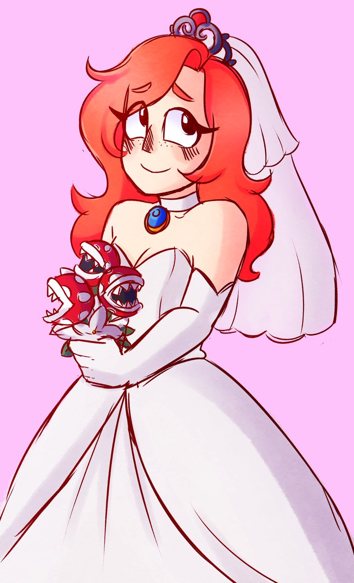 a quick sketch of penny wearing peach's wedding dress! i hope you get it sometime :D #snapstreamart <br>http://pic.twitter.com/7ICSzorXmW