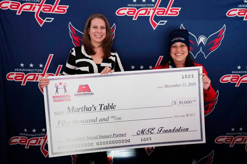 During tonight's game, @MarthasTableorg president Kim Ford accepted a $50,000 check from @MSEFndn. Martha's Table is @MSE's social impact partner for December. For more on how fans can contribute, visit WashCaps.com: nhl.com/capitals/news/…