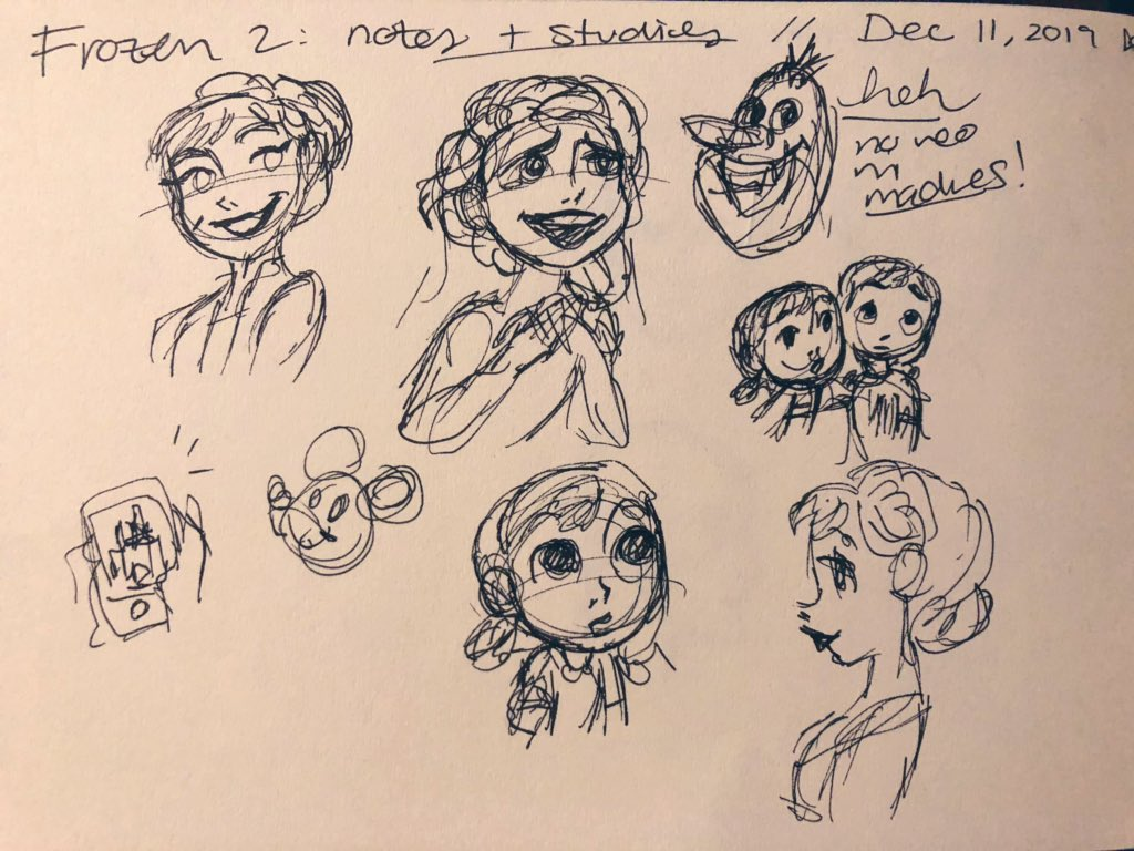 I went to see #Frozen2  again and took a sketchbook with me and doodled through the film, a thread! disclaimer: these were all done in a dark theater whilst staring at the screen so they're... rough lmao Page1. Warm ups + baby anna and elsa + iduna #frozen2spoilers <br>http://pic.twitter.com/QwFnzyt8Od