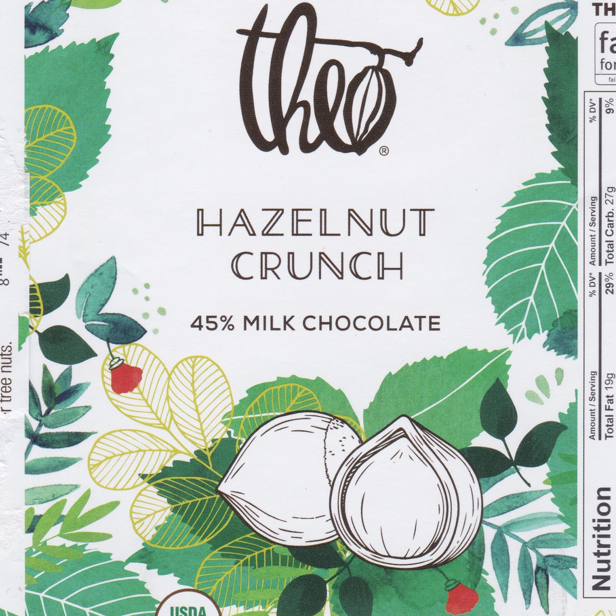 Theo crunchy brittle with hazelnuts & a pinch of salt in creamy milk chocolate