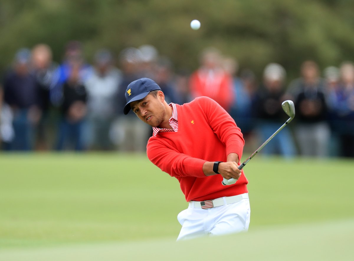 We always look back on old Ryder/Pres Cup pics and laugh at the outfits, so I wanna go on record saying I absolutely love the Americans' look today. Those red v-necks are fresh. Tough to do red, white, and blue later. I will 100% look back on this tweet in 10 years and cringe.