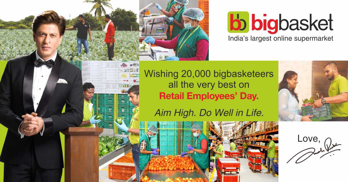 Wishing 20,000 bigbasketeers all the very best on Retail Employees' Day. Aim High. Do Well in Life. @bigbasket_com
