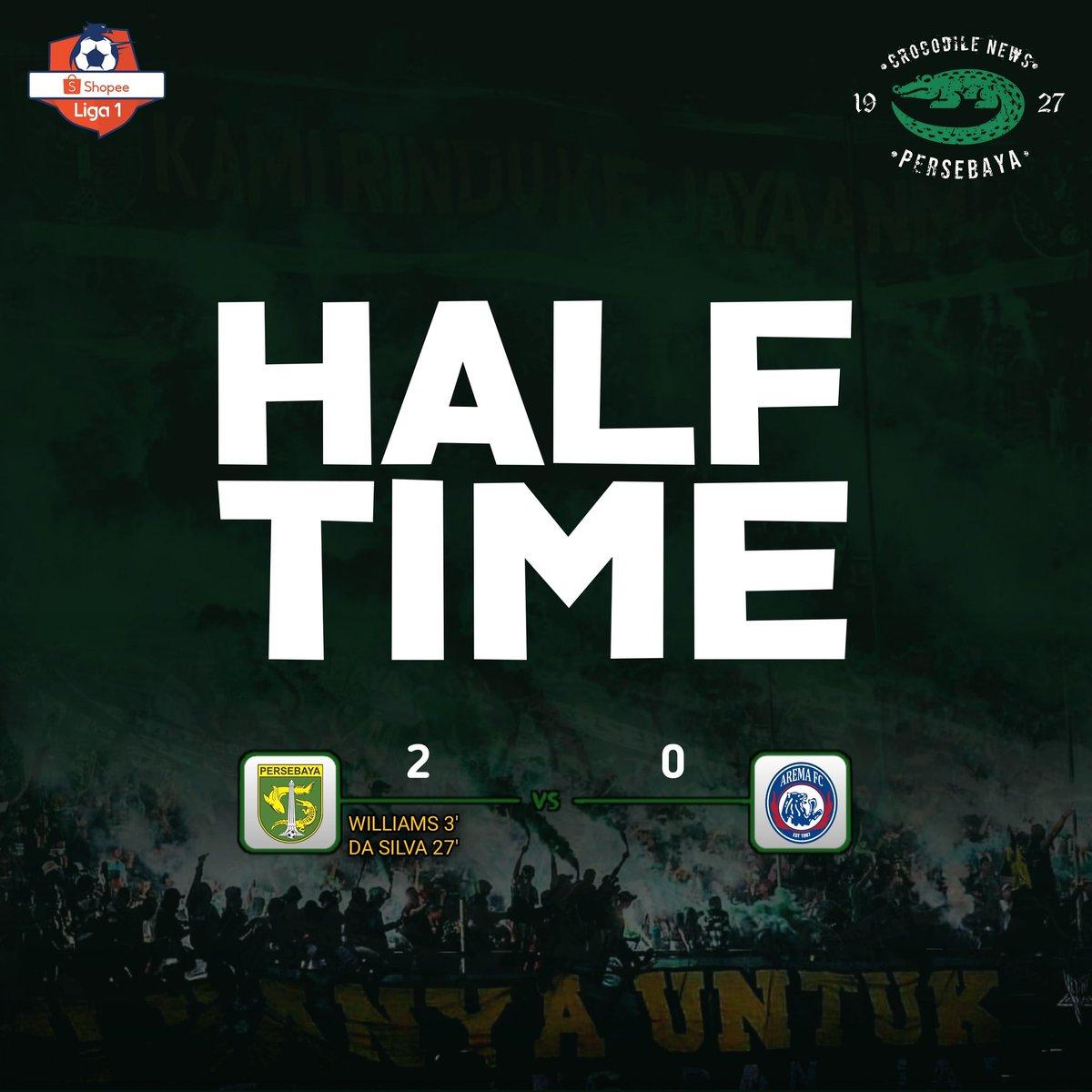 Half Time: Persebaya 2-0 Arema Fc _ ⚽️ Aryn Williams 3' ⚽️ David Da Silva 27'  Masih ada babak kedua! Ayo tambah lagi Jol!  #Persebaya #bajolijo #greenforce #CrocodileNews #bonek #bonita #PersebayaDay