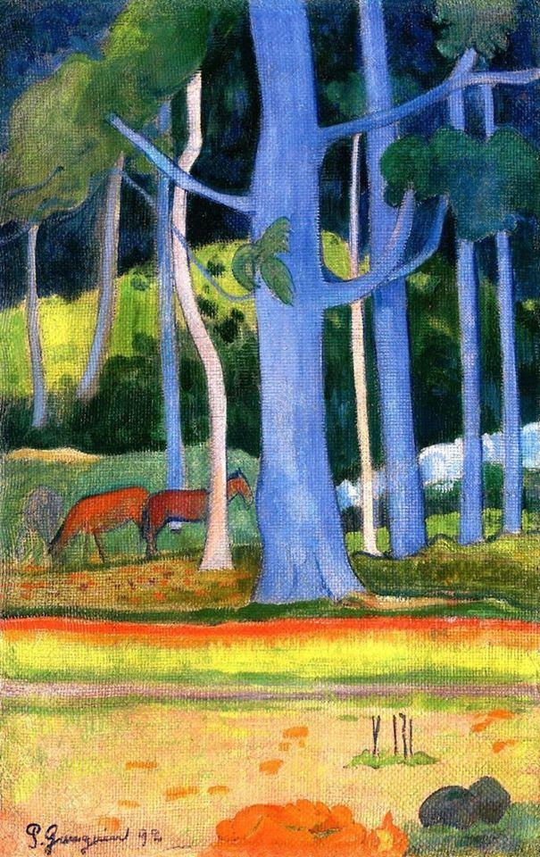 Paul Gauguin – Landscape with Blue Tree Trunks, 1892 <br>http://pic.twitter.com/jr2jeqUpx3