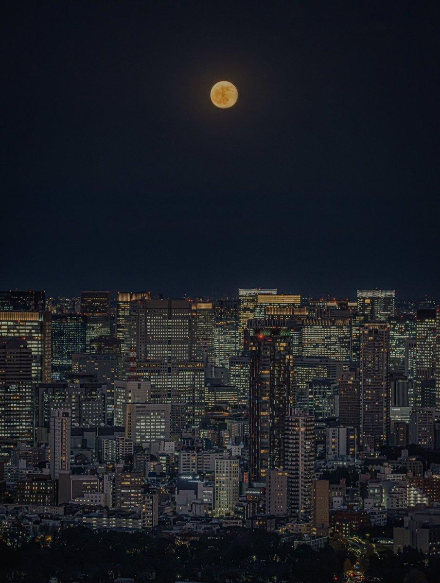 令和最後の満月。コールドムーンをたった今、渋谷から撮影しました。
