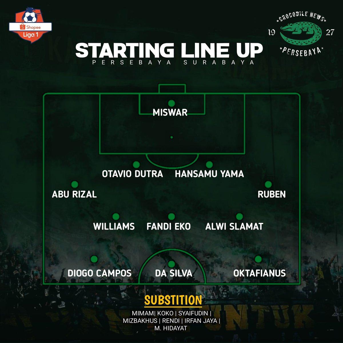 Starting Line Up Persebaya Surabaya menghadapi Arema FC .  Dengan Starting yang diturunin Coach Aji seperti ini. Akankah bisa 3 poin sore ini? Menurutmu Lur? #Persebaya #bajolijo #greenforce #CrocodileNews #bonek #bonita #PersebayaDay