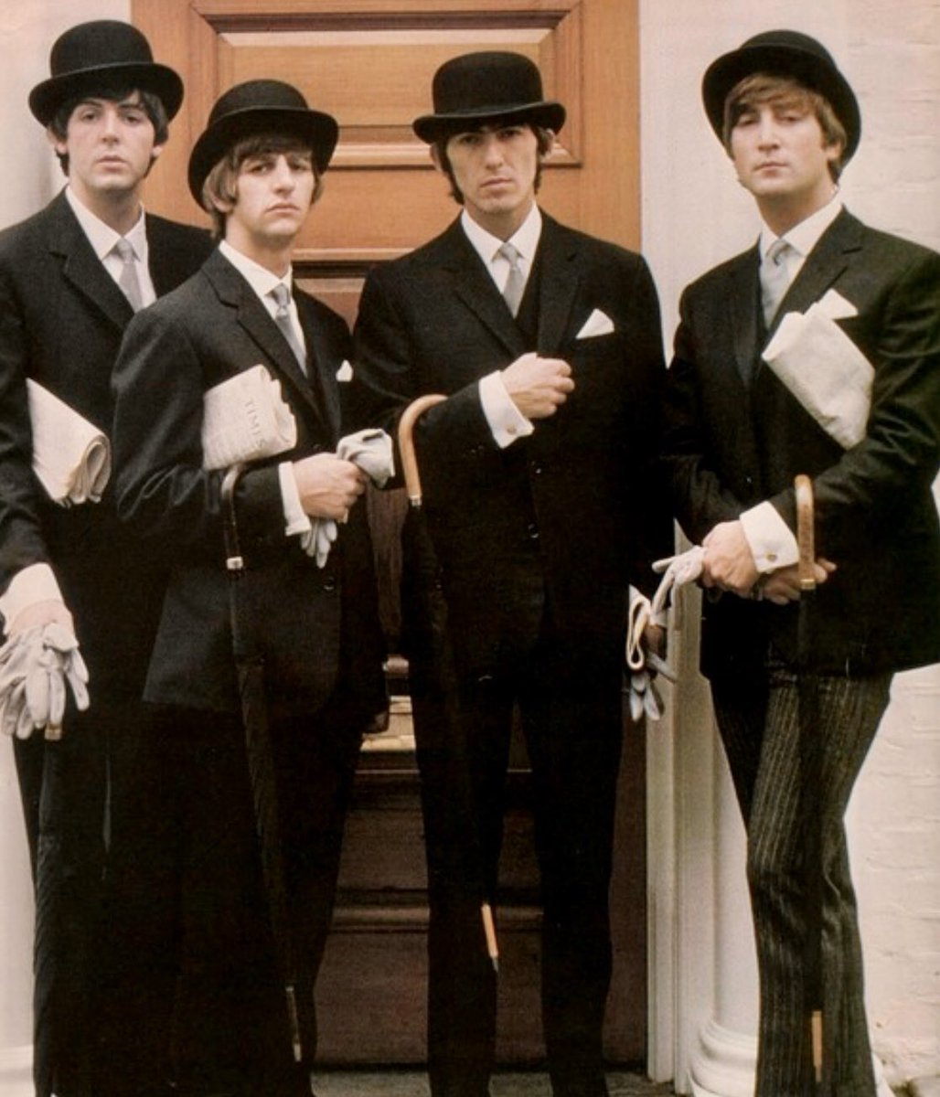 I say old chap, what a lovely, lovely picture! Photoshoot, London 1964 #TheBeatles #sixties #1960s #sixtiesstyle #sixtiesmusic #sixtieslondon #citygent #bowlerhat