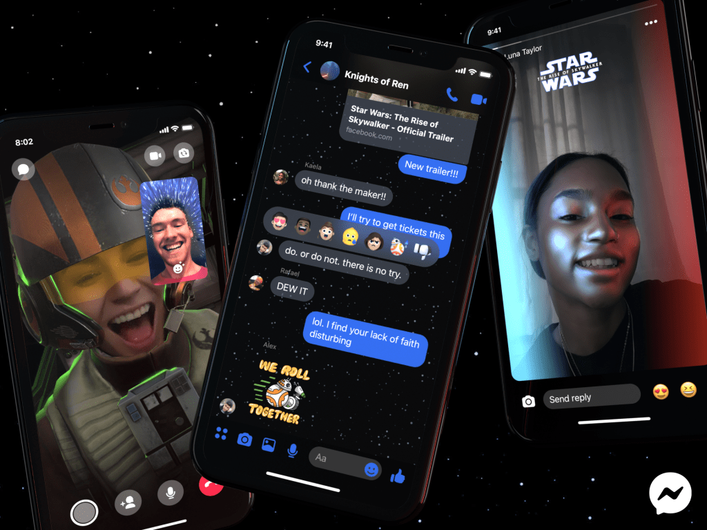 Introducing Star Wars-Themed Messenger Features https://about.fb.com/news/2019/12/star-wars-messenger-features/ …