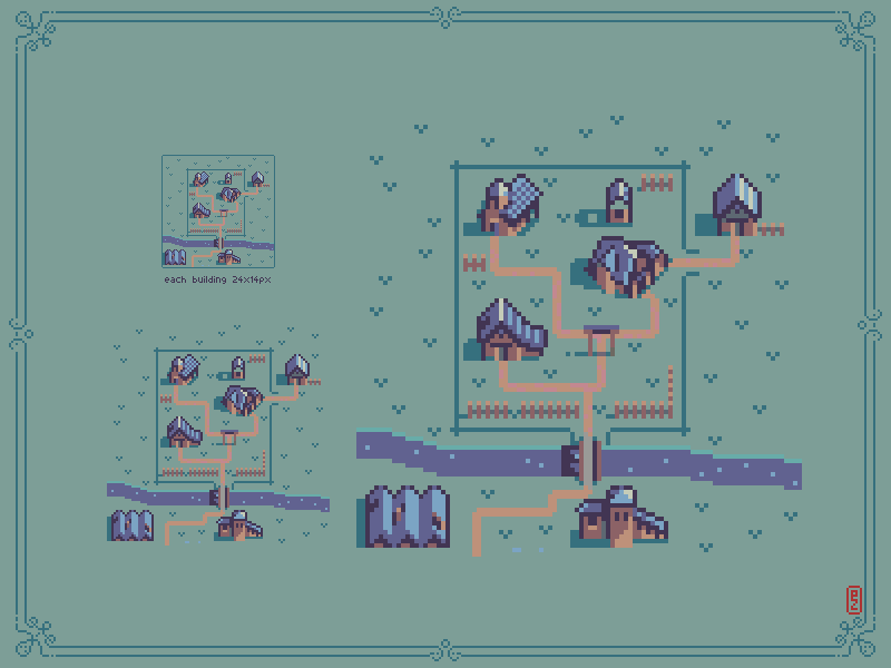 Small town with #building 24x14px each for @Pixel_Dailies #pixel_dailies #pixelart #gamedev #Aseprite<br>http://pic.twitter.com/tQFr6FhJJF